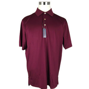 NEW Peter Millar Mens Polo Shirt Large Maroon Red